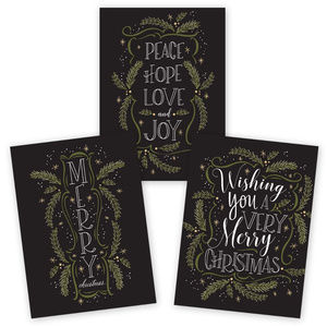Other - set of 24 black, green & white Christma cards